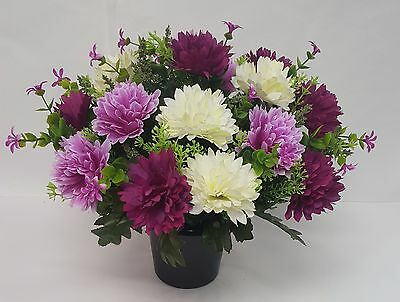 Artificial Flowers All Round Grave Memorial Arrangement Lilac Purple Ivory