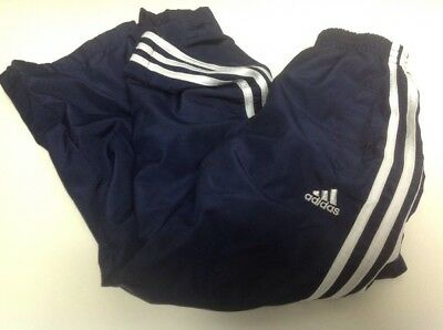 Kids Adidas Pants Track Running Athletic Size 7 Navy Blue With Ankle Zippers