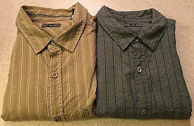 Lot Of 2 REI Button Up Short Sleeve Cotton/Bamboo Rayon Blend Shirt Large EUC