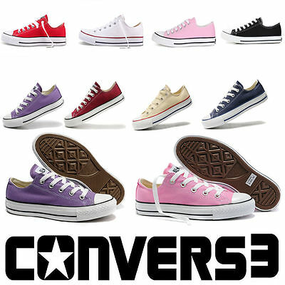 Canvas Womens All-Star Chuck Taylor Low Top Trainers 9 Colors Full Size Shoes