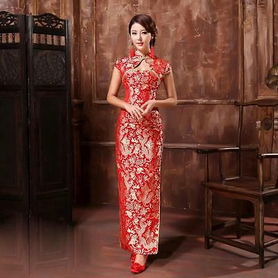 Traditional Chinese Red Gold Slit Wedding Dress QiPao Cheong-sam - Size 0 Petite