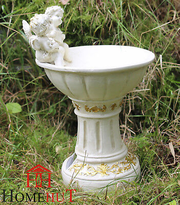 Solar Powered Garden Ornament Fairy Secret Garden Cherub Angel Bird Bath 26cm