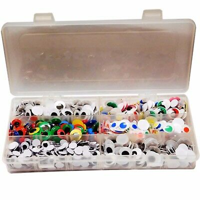 600 Wiggle Wiggly Googly eyes assorted types and sizes 10mm 12mm 15mm