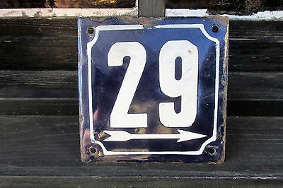 Vintage Enamel Porcelain Sign House Door Number 29 Classical Cobalt Blue