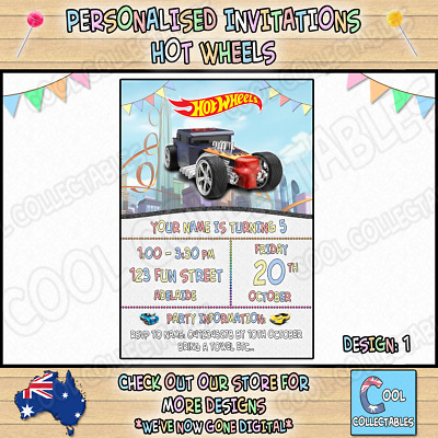 HOT WHEELS Personalised Birthday Party Invitations / Invites Party Supplies