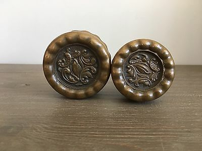 2 Antique Brass Victorian Doorknobs Eulalia By Reading Rococo B-21600