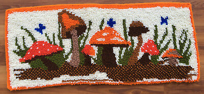 Vtg Completed/Finished Hand Crafted MUSHROOMS Lached/ Hooked Rug 340