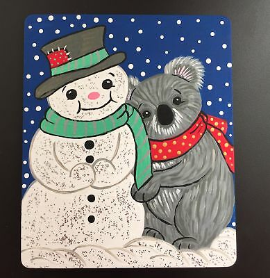 Original Adorable Koala & Snowman Painting On Wood By Barbi