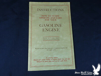 How To Start Operate & Care For Your Gasoline Engine Renewal Parts Instructions