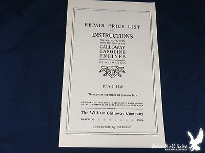 REPRINT 1919 Repair Price List & Instructions GALLOWAY GASOLINE ENGINES Waterloo