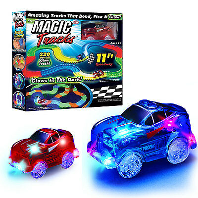 220 Pcs Magic Tracks Set Can Bend Flex Glow in Dark Led Light-up Racetrack Cars