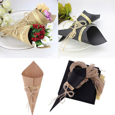Brand New 50X Kraft Paper Cones Bouquet Candy Boxes Wedding Party Gifts