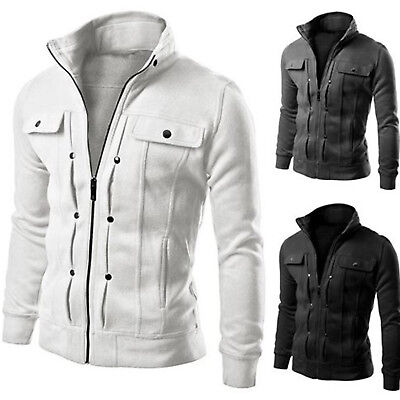 Men's Slim Fit V-neck Hoody Cardigan Outwear Sweatshirt Sweater Jacket Top Coat