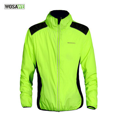 Cycling Bicycle Windproof Jackets Green+Black  Reflective Bike Riding Wind Coats