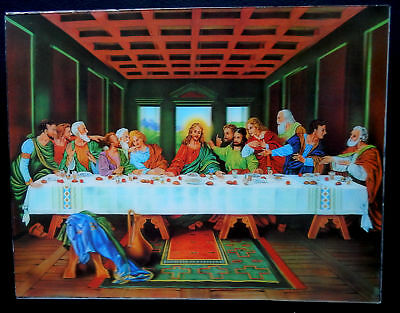 "3D Image ""The Last Supper"" Jesus Religious Art Photo Picture 10 3/8 x 13 5/8"