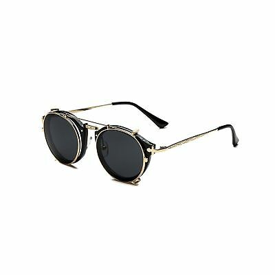 Dollger Clip On Sunglasses Steampunk Round Double Lenses 1 Set with Frame