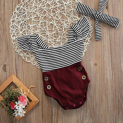 US Newborn Kids Baby Girl Cute Romper Jumpsuit Bodysuit+Headband Clothes Outfits