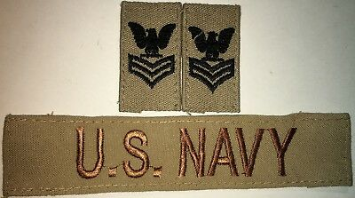 Usn Dcu Desert E-6 1St Class Petty Officer Rank And Us Navy Tape Used (H27)