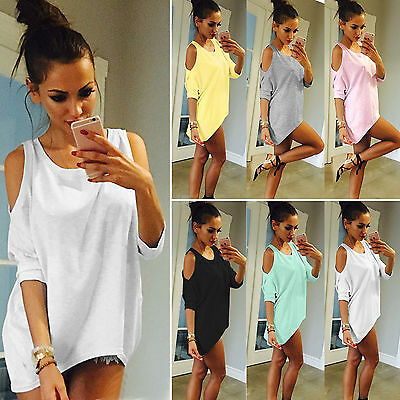 Womens Cold Shoulder Loose T Shirt Blouse 3/4 Sleeve Casual Summer Long Tops Tee