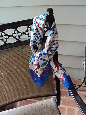 RED WHITE BLUE YELLOW COSMETIC PRINT AVON SCARF  34X34 Inches