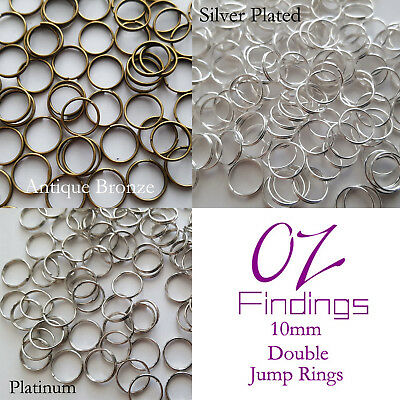 NEW 100 x 10mm (0.7mm Thick) Double Split Jump Rings Choose From Three Colours