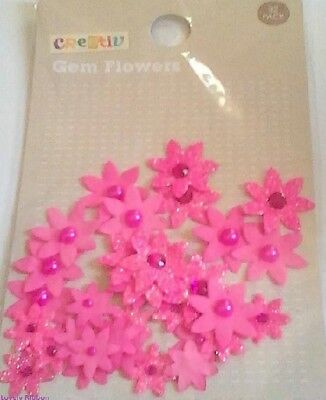 32 PINK FABRIC FLOWERS, Pearls, Diamontes, Card Making, Floral, Art, Free Post