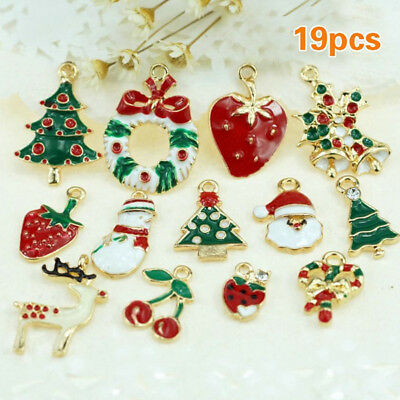 19pcs Metal Enamel Alloy Mixed Christmas Charms Pendants Party Decor Ornament