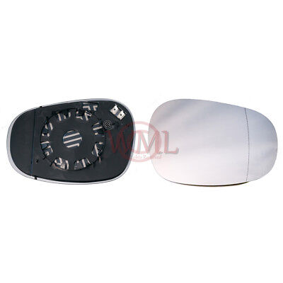 BMW 5 SERIES 2003-/>2008 DOOR//WING MIRROR GLASS SILVER ASPHERIC,HEATED/&BASE,RIGHT