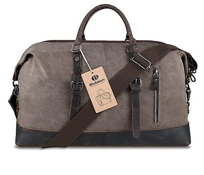 NWT Bluboon Canvas Overnight Bag Weekender Tote Leather Travel Duffel Coffee