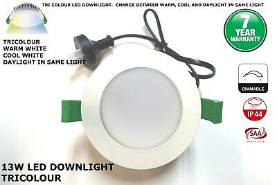 10 X 13W LED Downlight KIT TRI COLOUR - WARM, COOL, DAYLIGHT IN ONE -7 YEAR WRTY