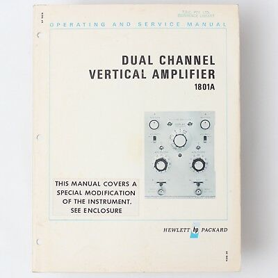 Hewlett Packard HP 1801A Dual Channel Vertical Amp Operating + Service Manual