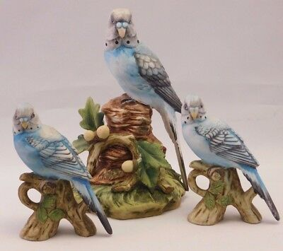 "Lefton Porcelain Bird Collection: One KW7457 & Two KW1251: ""Trio of Parakeets"""