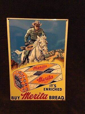 Lone Ranger Merita Bread Embossed Metal Tin Advertisement Sign 14 x 9 3/4 inches