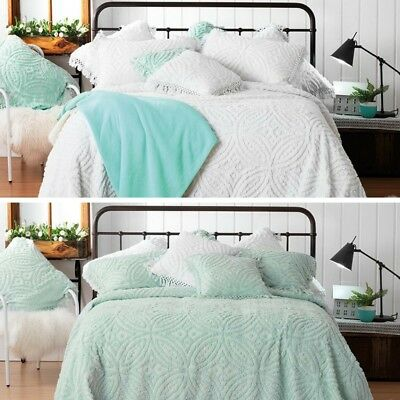 BIANCA Kalia Chenille Bedspread Bed Cover Double Queen King 100% Cotton New