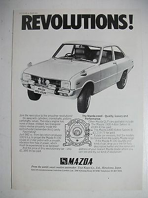 1971 Mazda R100 Revolutions! British Magazine Fullpage Advertisement