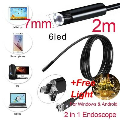 2M USB Android Endoscope Borescope 6 LED Snake Inspection HD Camera Waterproof
