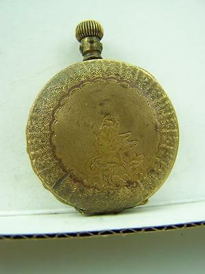 Antique Fob watch empty hunter case yellow metal                   758