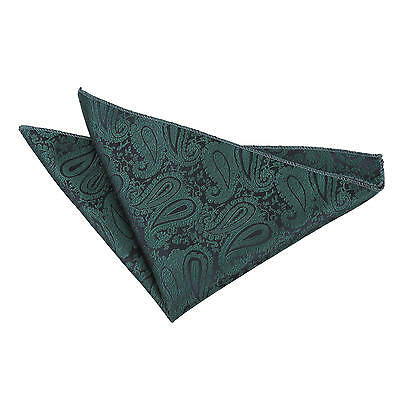 Paisley Wedding Formal Handkerchief Pocket Square Hanky - Emerald Green