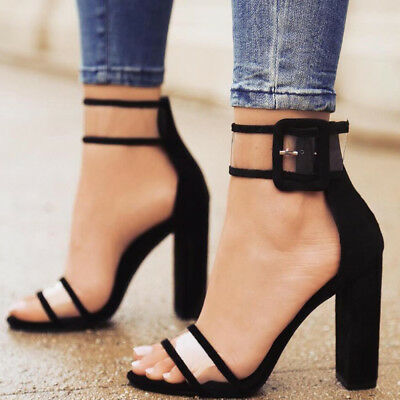 AL_ Fashion Women Thick High Heel Sandals Summer Ankle Strap Buckle Shoes Deluxe