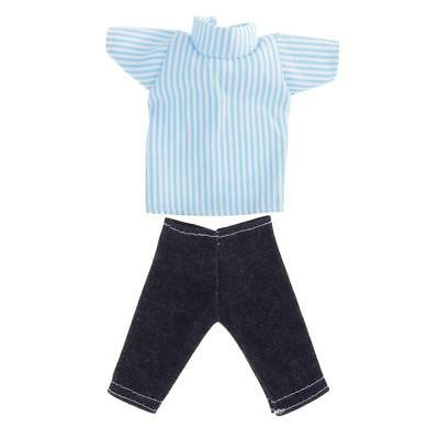 Doll Clothes Casual Clothing Set for Barbie Ken Striped Shirt Pants Trousers