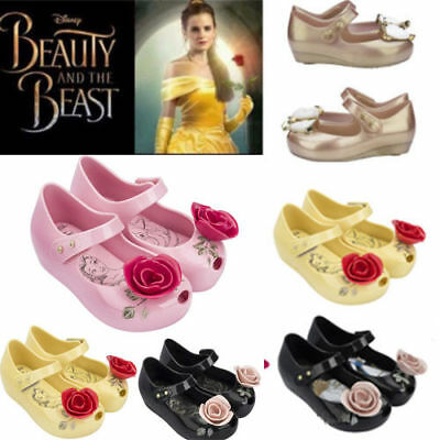 NEW Girls Kids Beauty and the Beast Jelly Shoes Sandal Princess Rose Shoes 21-29