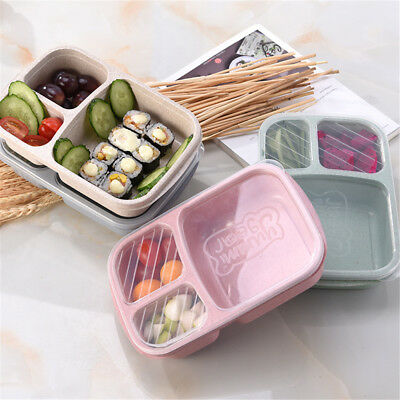 3 Compartment Wheat Straw Picnic Microwavable Meal Storage Lunch Box