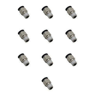 """Pack of 10 3/8"""" Tube x 1/4"""" Male NPT Pneumatic Fitting Push-to-Connect"""