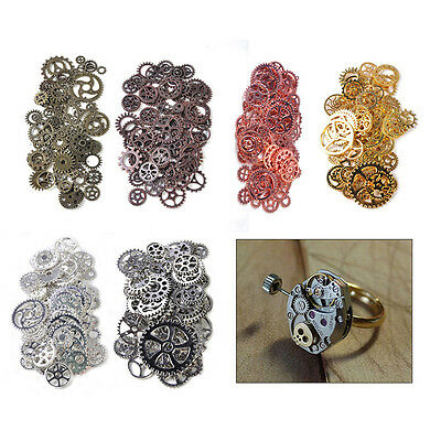 Art DIY Vintage Steampunk Wrist Watch Old Parts Gears Cogs Wheels Pieces 3C