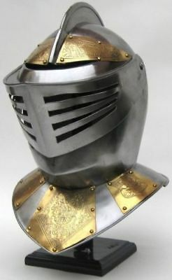 Golden Knight Medieval Knight Helmet World War Replica. Armory