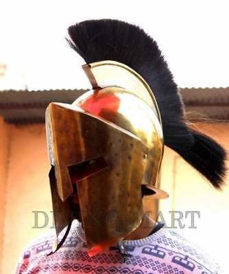 Heavy Metal 300 Spartan Helmet Pure Brass Antique With Black Plume