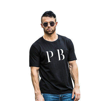 AL_ PB Letters Print Unisex Round Neck Short Sleeve Top Couple Tee T-Shirt Delux