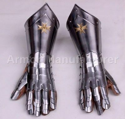 Gauntlet Pair with Brass Armor Gloves Larp Medieval Steel Gloves