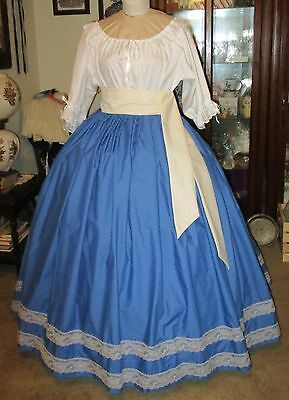 Civil War Dress~Victorian Style Gorgeous 100% Cotton Royal Blue Skirt & Sash