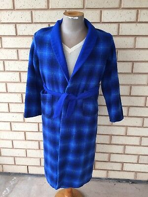 VINTAGE PLAID ONKAPARINGA WOOL ROBE DRESSING GOWN Boys Size 16 Blue